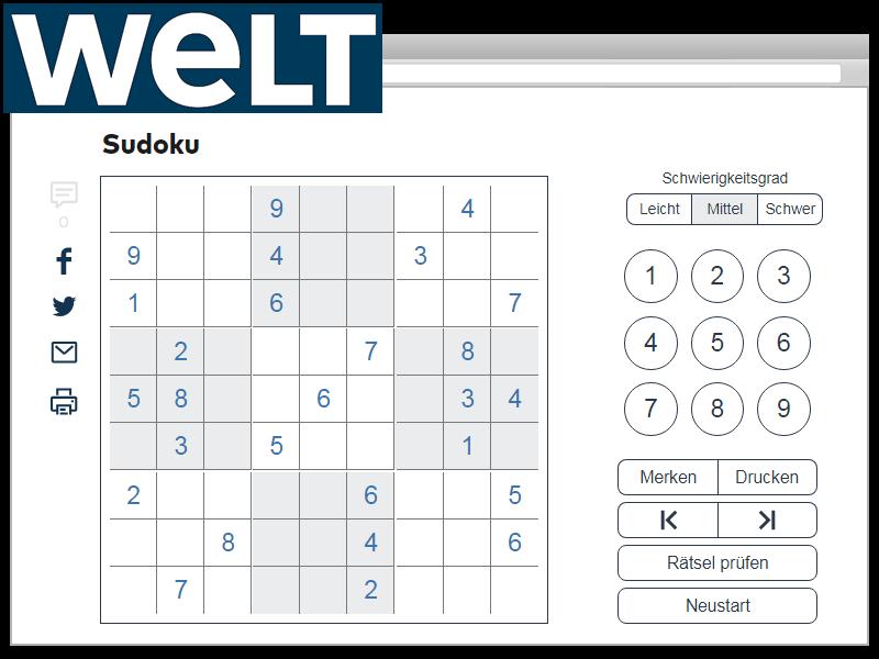 WELT Sudoku für Desktop und mobile Geräte