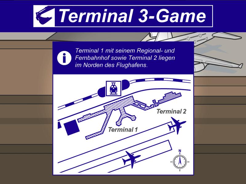 Edutainment Game mit Infofenster und Wissenswertem zum Airport Frankfurt